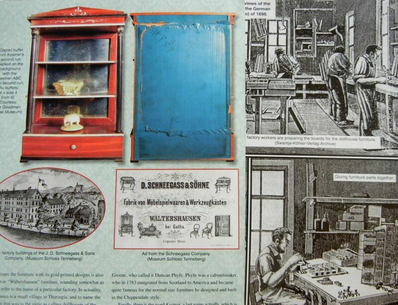 12p History Article + Pics -  Antique Boulle - Kestner Doll House Furniture
