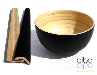 bibol Bambus Schüssel XL 28cm 6L+ Salatbesteck Schwarz Handarbeit Nachhaltig Öko