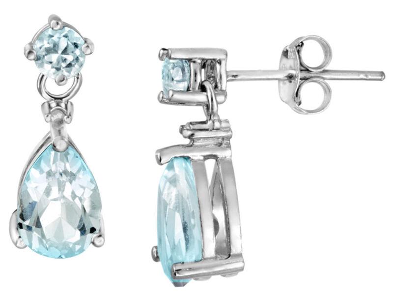 White Topaz Bezel Set Square Dange Earrings in 925 Sterling Silver-2.50 Carats