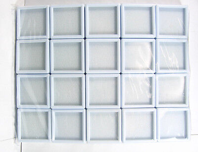20 Pcs Of Top Glass Plastic Gemstone Jewelry Display Jar Box White Size 4x4 Cm