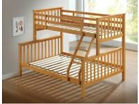 Trio Wooden Bunk Bed Frame in Oak and White Color Options - Kids and Adult Bed