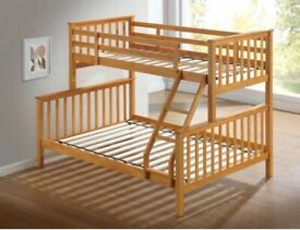 DISCOUNT SALE PRICE-Trio Wooden Bunk Bed Frame in Oak and White Color Options-Kids Bed