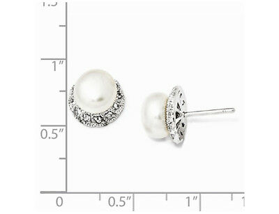 Freshwater Cultured Pearl Earrings with Cubic Zirconia