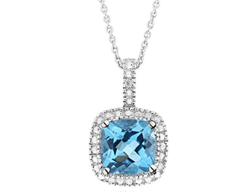 "Aqua Blue Topaz  Diamond Cluster Pendant  925 Sterling Silver 18/"" Chain Necklace"