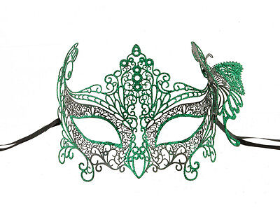 Mask Lace Metal from Venice Butterfly Green Glossy Fancy 724