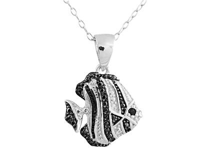 Diamond Accent Fish Pendant - Fish Pendant Necklace with Diamond Accent in Sterling Silver with Chain
