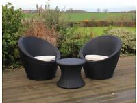 NEW Rattan Effect Table and 2 Egg Chairs Bistro Set, Ideal for Gardens, Patios and Conservatories