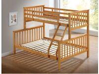 💖AESTHETIC DESIGN🔵Kids Bed Trio Wooden Bunk Bed In OAK Color Optional mattress
