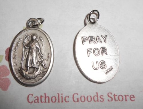 "St. Saint Raphael the Archangel - Pray for Us - Italian Silver-tone OX 1"" Medal"