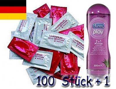 100 x Marken Condome + Durex Play 2 in 1 Massage Öl & Gleitgel 200 ml