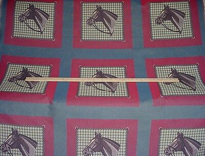 3-1/2y VALDESE SUPERB CALICO IN BLUE HORSE EQUESTRIAN TAPESTRY UPHOLSTERY FABRIC
