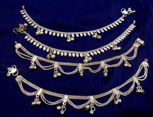women lot 4 paisley silver chain bells Anklet Ankle Bracelet Indian foot jewelry