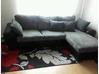 Fabric corner sofa-bed with storage