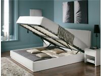Dwell high quality king size ottoman bed in white