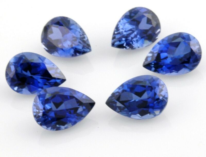 LOT OF 6 LAB CREATED BLUE SAPPHIRE 10x7 PEAR SHAPE 13CT