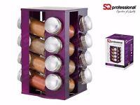 SQ Professional Gems Revolving Metallic Spice Rack with 16 Jars Amethyst Purple
