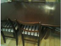Wood dining table and chairs