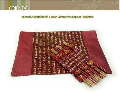 6 Pair of Chopsticks & 6 Placemats Set/Korean Character