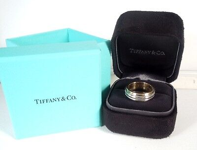 TIFFANY Ltd Edition Platinum 18kt Yellow Gold 6mm DOUBLE MILGRAIN Band Ring