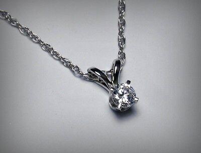 NEW!  Genuine Diamond Solitaire Pendant Necklace & Chain. 14K White.  Free Ship.