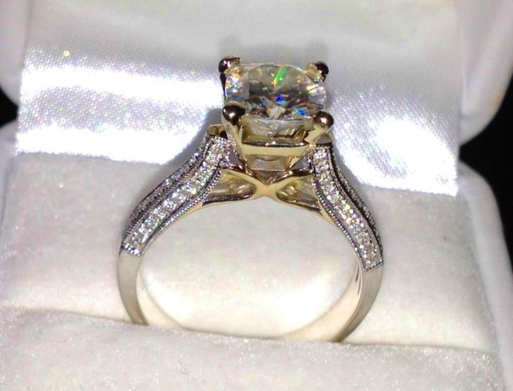 real 14k solid white gold 2.45... Image 3