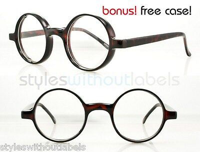 50s 80s Retro Round Brown TORT Clear Lens Hippie Nerd Hipster Glasses Spectacles