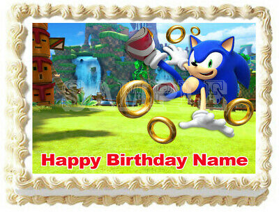 SONIC THE HEDGEHOG Party Edible Cake topper image  (Sonic Cake)