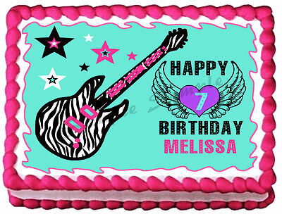 TEEN ROCKSTAR  ZEBRA GUITAR Image Edible cake topper decoration](Rock Star Cake Decorations)