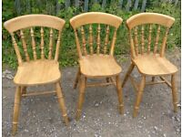 3 off pine country style dining chairs good quality