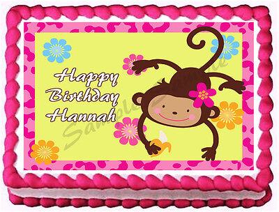 Monkey Cake Decorations (PINK MONKEY GIRL Birthday Image Edible cake topper)
