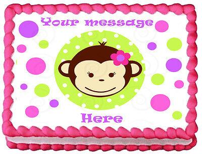Monkey Cake Decorations (PINK MOD MONKEY FACE Image Edible cake topper)