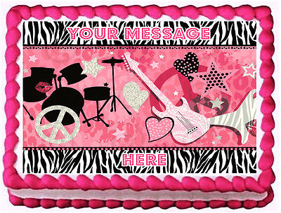 ROCKSTAR GIRLS Image Edible cake topper decoration](Rock Star Cake Decorations)