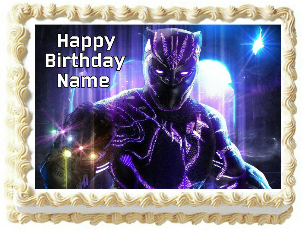 black panther edible cake topper image party