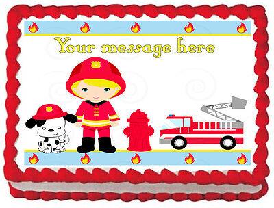 FIRE TRUCK Birthday Fireman Cake Image Edible cake topper  - Fire Truck Cake