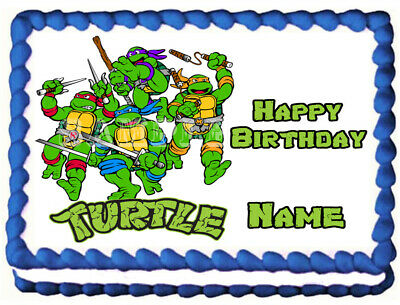 Turtle Cake Decorations (TEENAGE MUTANT NINJA TURTLES  Edible Cake topper image)