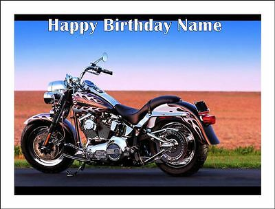 HARLEY DAVIDSON MOTORCYCLE A4 Edible Icing Birthday Cake Decoration Topper - Harley Davidson Birthday Decorations