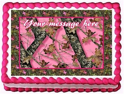 PINK CAMO TREE CAMOUFLAGE Image Edible cake topper decoration](Camo Cake Toppers)