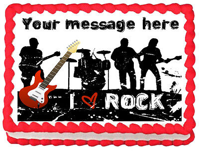 ROCKSTAR MUSIC BAND Image Edible cake topper decoration](Rock Star Cake Decorations)