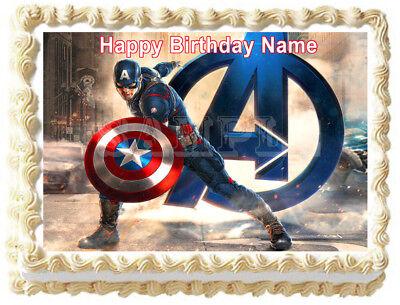 CAPTAIN AMERICA Edible Party Cake topper image  - Captain America Cake Topper