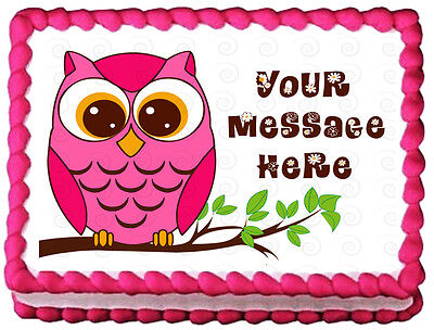 PINK OWL Birthday Party Image Edible Cake topper - Owl Birthday Cake