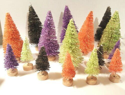 LOT 16 Black Purple Orange & Green HALLOWEEN Miniature Sisal Bottle Brush Trees