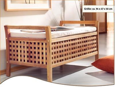Sitzbank Walnuss Holz mit Kissen Stauraum Truhe Wäsche