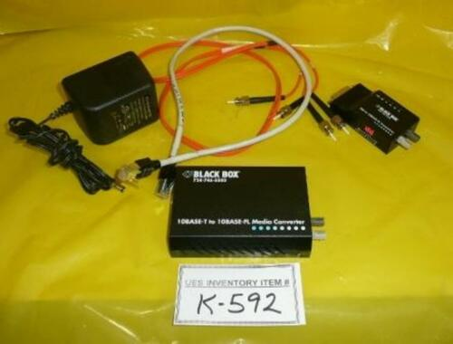 Black Box LE1605A-ST Media Converter and Transceiver Set LE1603A Used Working
