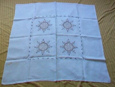 Off White Linen Brown Embroidery Drawn Work Square Handmade Tablecloth 33