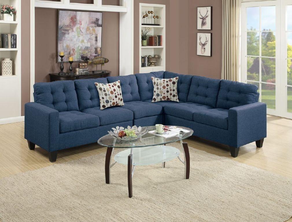 Navy Polyfiber Sectional Sofa Set Loveseat Wedge Armless Cha