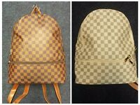 Backpack Unisex Rucksack New shoulder hand Bag Cream Brown Check Print monogram