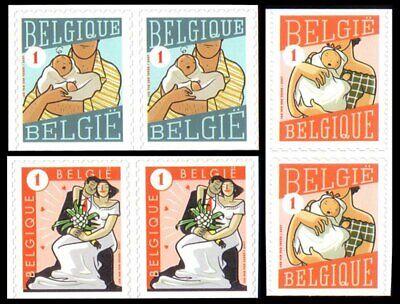 Belgien**Grußmarken-3Paare x2Mkn-Geburt Jungen & Mädchen-Hochzeit-2007-Mi3785/87