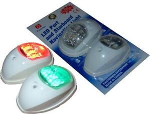 NAVIGATION-LIGHTS-LED-PAIR-WHITE-SURROUND-PORT-STARBOARD-BOAT-RIB-YACHT