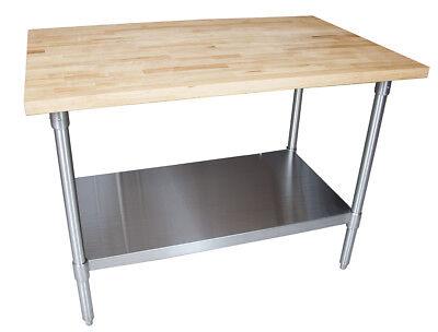 John Boos Mfts-4830 Wood Top Work Table With Stainless Steel Undershelf