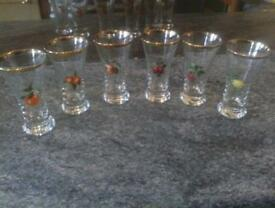 6 antiques fruit glasses